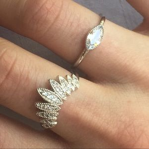 Chloe + Isabel Silver Pavé Stackable Ring Set